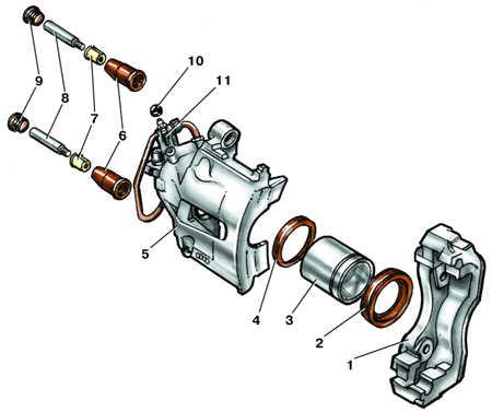 10.4 Тормозной механизм переднего колеса марки Teves