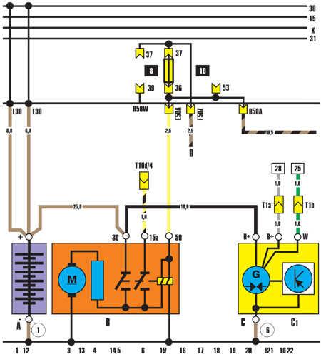12.9.24 Аккумулятор, стартер, генератор (дизельный двигатель)