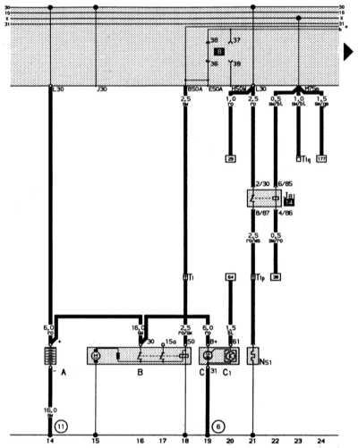 14.12 Полная электросхема автомобиля Audi 80: 2-литровый 4-цилиндровый двигатель (66 кВт)