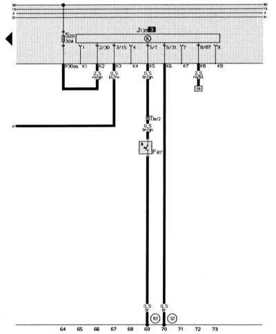14.15.2 Включение вентилятора системы охлаждения после прекращения работы   двигателя Audi 80