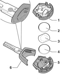 14.11  Замена батарей ключа дистанционного управления Audi A3