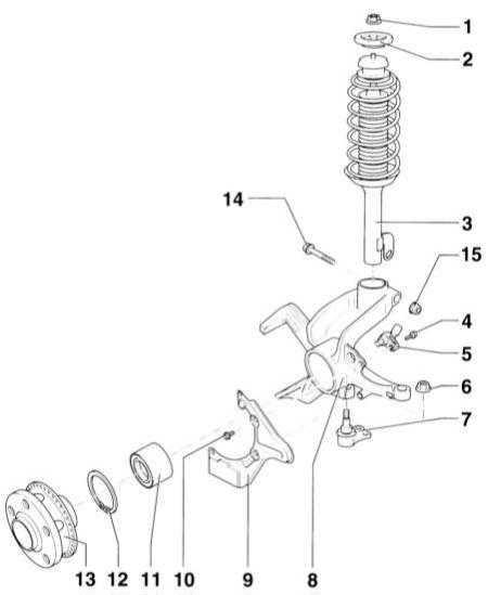 12.2.2 Снятие и установка амортизационной стойки и корпуса колесного подшипника