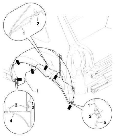 13.31 Снятие и установка локеров арки переднего и заднего колес