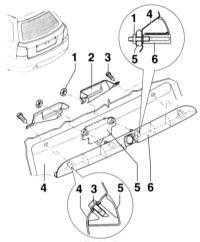 13.44 Снятие и установка планки ручки двери задка
