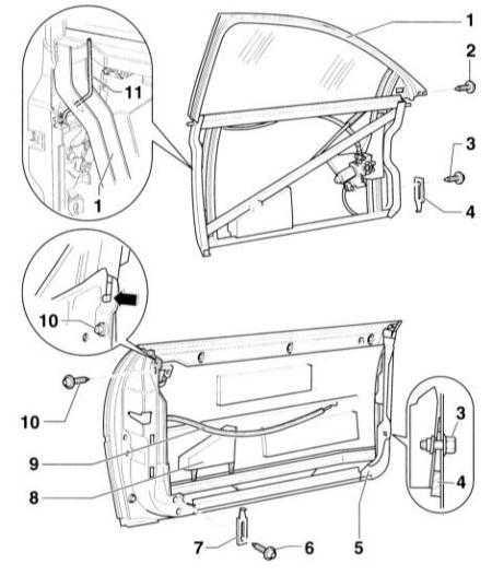 13.48 Снятие и установка передней двери и держателя регулировочных элементов