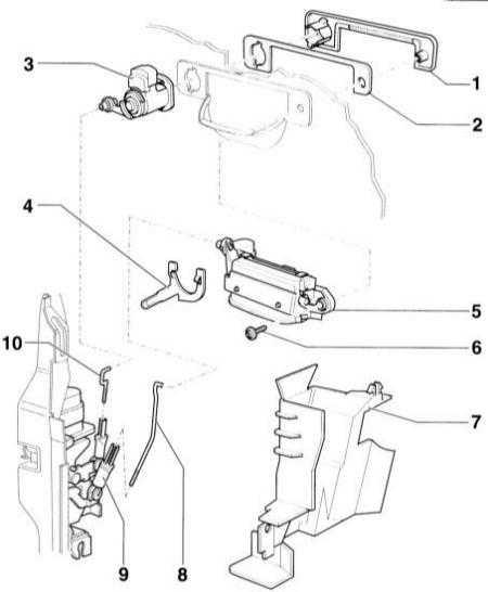 13.52 Снятие и установка ручки передней двери и цилиндра замка
