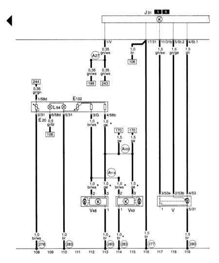 15.12 Регулятор освещения выключателей и приборов управления, регулировки дальности света, стеклоочистителя и омывателя, регулировки дальности света (не относится к системе Motronic турбодвигателя 1.8 л 154 кВт S3)
