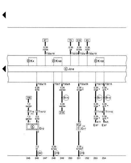 15.24 Блок панели приборов, комби-процессор в блоке панели приборов, датчик резерва/уровня топлива, контрольные лампы Audi A3