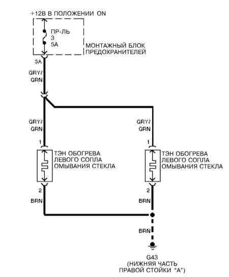 14.24 Обогрев сопел подачи омывающей жидкости