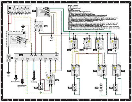 схема проводки стеклоподъемников в audi а6 1998 года