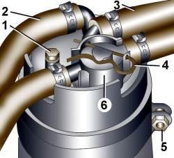 2.6 Слив воды из топливного фильтра дизельного двигателя V6 TDI