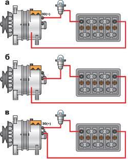 12.8 Схемы проверки выпрямительного блока генератора на автомобиле
