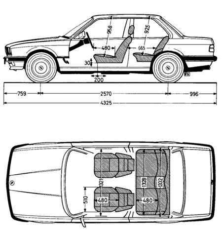 1.2 Габаритные размеры BMW 3 (E30)