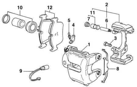 11.1 Снятие и установка тормозных колодок передних колес