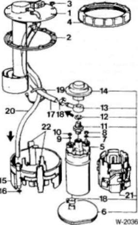 6.4 уровня топлива/топливный насос. Двигатели М20 и МЗО