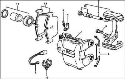 11.2 Снятие и установка передних тормозных колодок