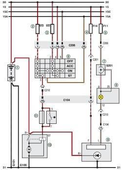 19.1 Схема 1. Соединения генераторной установки и системы пуска двигателя