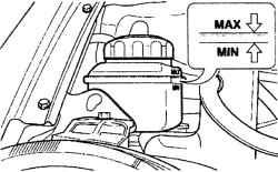 2.10.2 Проверка уровня и доливка жидкости в системе гидроусилителя рулевого управления