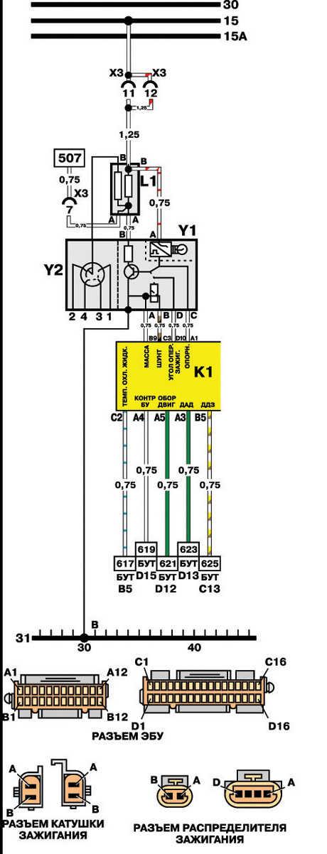21.6.3 Система зажигания (ЭБУ типа IEFI-6)