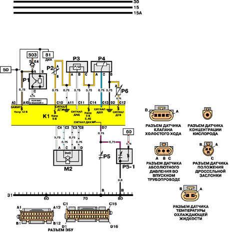 21.6.9 Датчики температуры, давления, скорости, заслонки, клапан ХХ (IEFI-S)