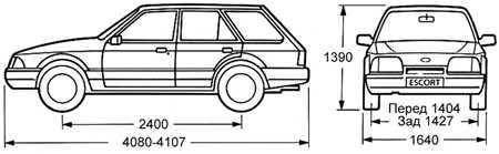 1.5 Габаритные размеры автомобилей Ford ESCORT Ford Escort