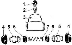 12.3.2 Снятие и установка рабочих тормозных цилиндров Ford Escort