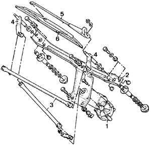 12.7 Стеклоочиститель ветрового стекла, узел указателей и фары