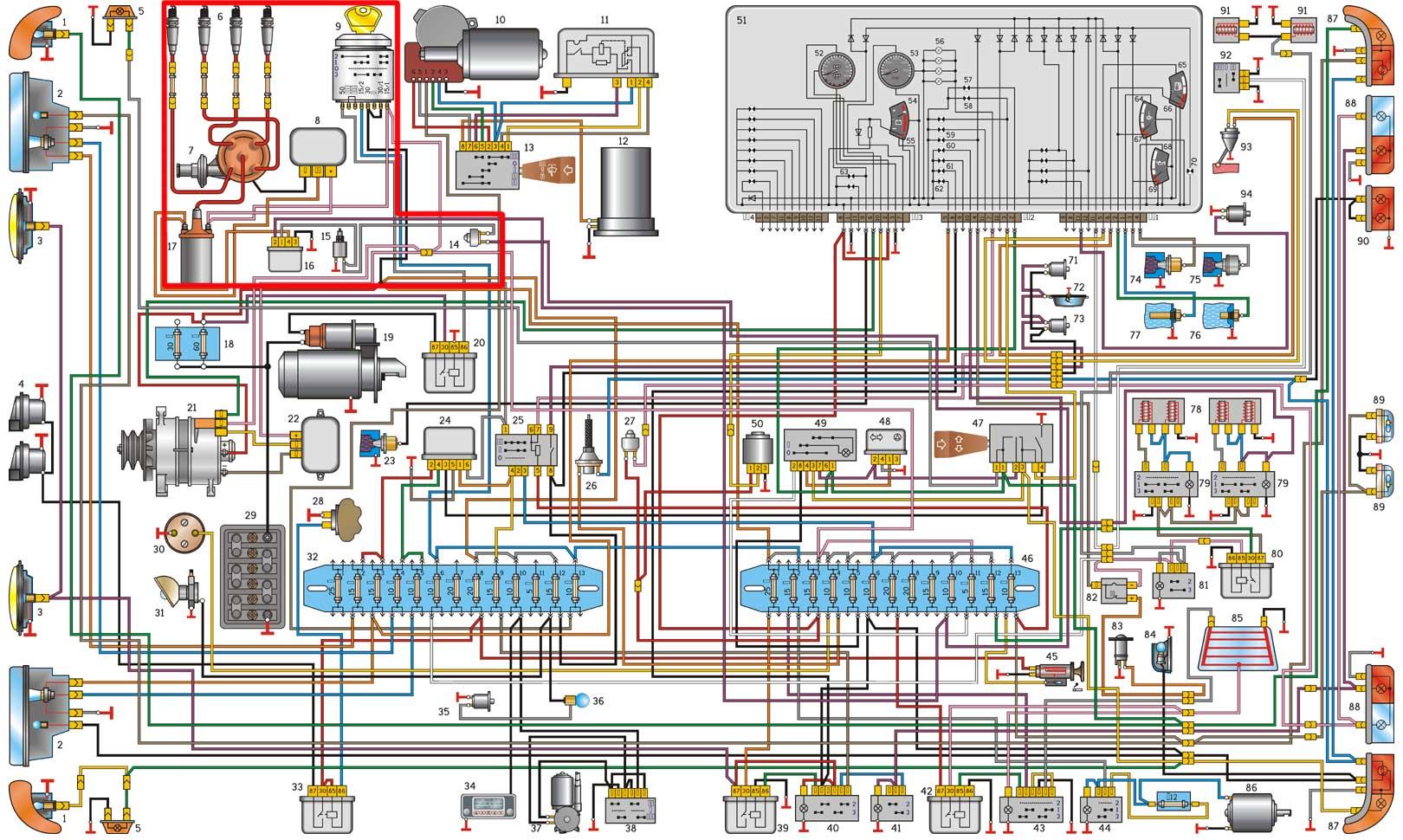 Электросхема газ 53 цветная фото 700