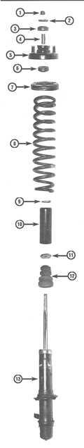 10.2 Замена амортизатора или винтовой пружины стоечной сборки