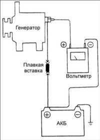 16.5 Проверка падения напряжения на проводе, соединяющем аккумуляторную батарею с генератором