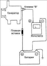 19.4 Проверка падения напряжения на проводе, соединяющем аккумуляторную батарею с генератором