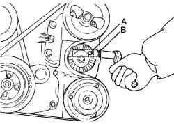 2.1.13 Регулировка ремня привода насоса усилителя рулевого управления и кондиционера