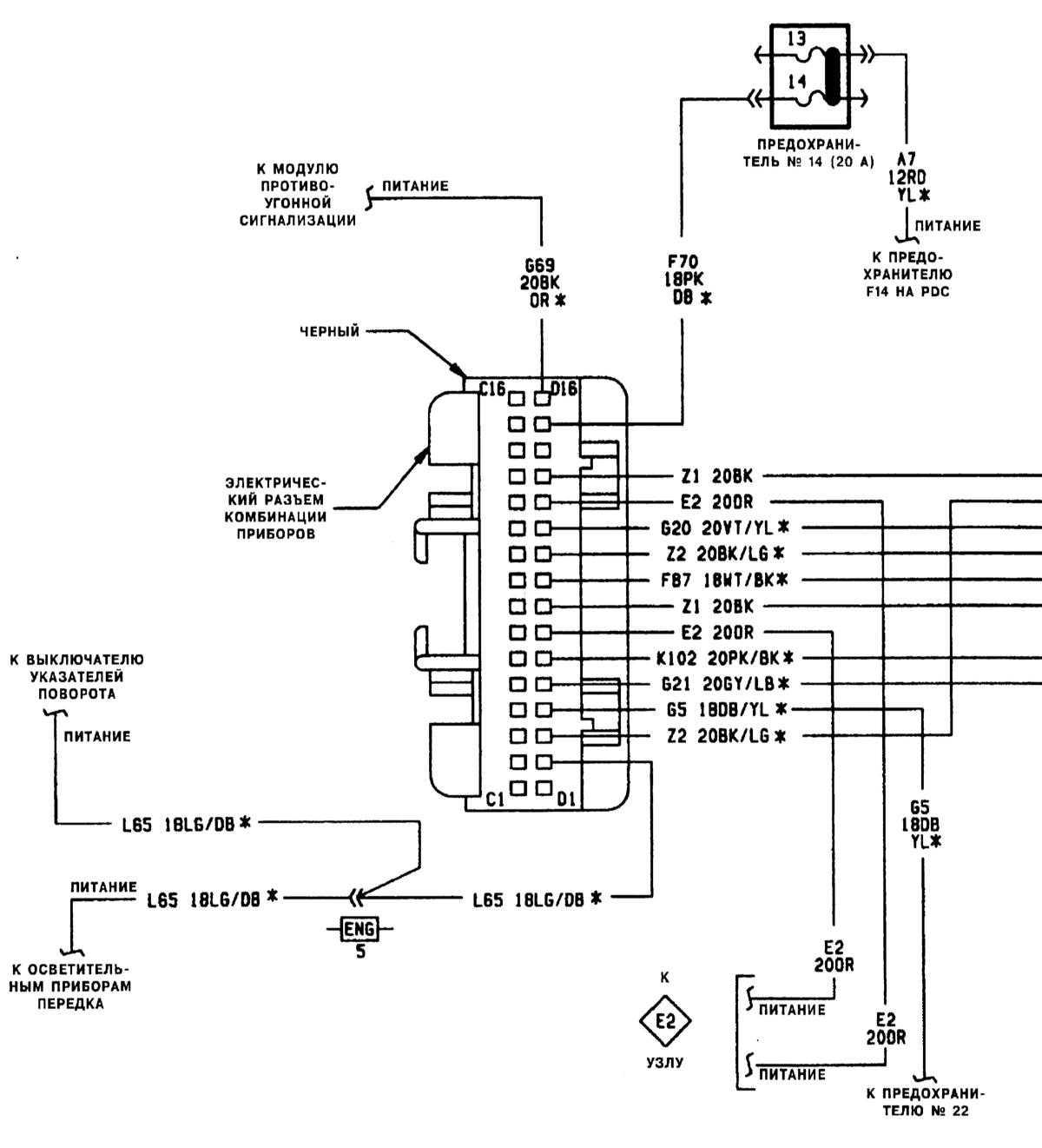 опель омега б 2.5 v6 схема подключения панели приборов