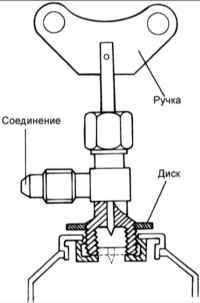 14.8 Подсоединение выпускного клапана к баллону с хладагентом