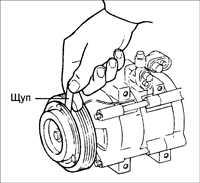 15.8 Проверка зазора сцепления компрессора кондиционера
