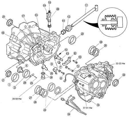 9.10 Картер сцепления и компоненты картера коробки передач TE DOHC