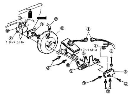 10.8 Снятие и установка сборки вакуумного усилителя тормозов