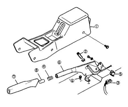 10.13 Снятие и установка рычага стояночного тормоза, регулировка приводного троса