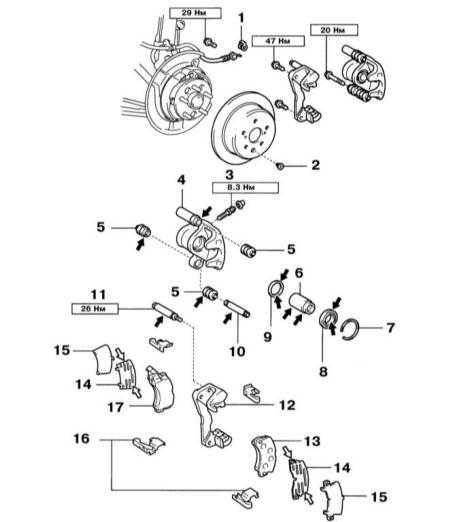 10.7 Снятие, разборка, проверка, сборка и установка суппортов тормозных механизмов