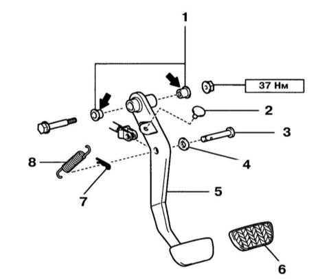 10.2 Снятие, установка и проверка педалей тормозной системы