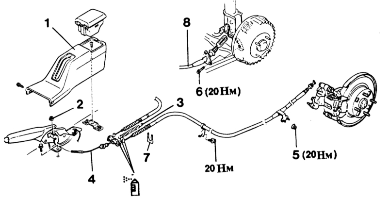 схема стояночного тормоза ланцер 6 93 года преувеличения, это самое