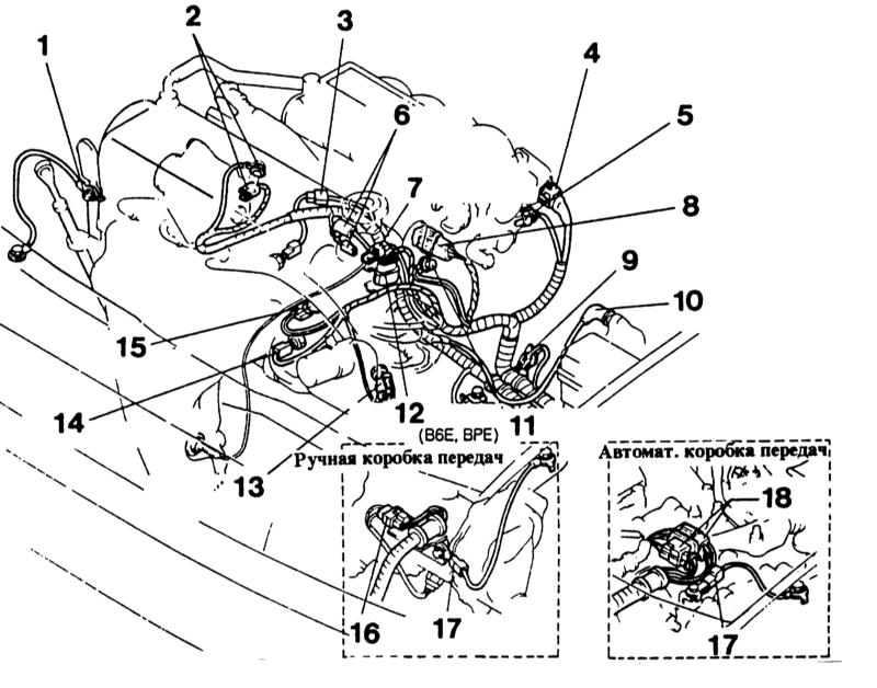 схема шлангов двигателя mazda b3