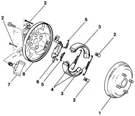 13.8 Снятие и установка задних тормозных колодок/тормозного барабана