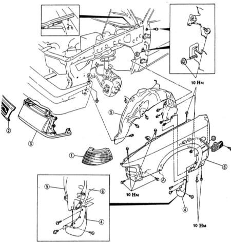 14.15  Снятие и установка переднего крыла