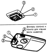 17.31  Фонари салона, багажника и лампа для чтения (если имеется)