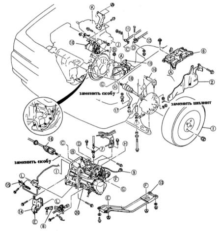 10.1 Снятие и установка коробки передач