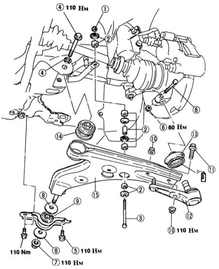 12.5  Снятие и установка поперечного рычага/замена резиновой опоры