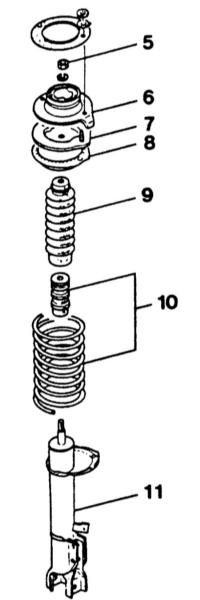 12.13 Разборка задней амортизационной стойки/снятие и установка амортизатора/винтовой пружины