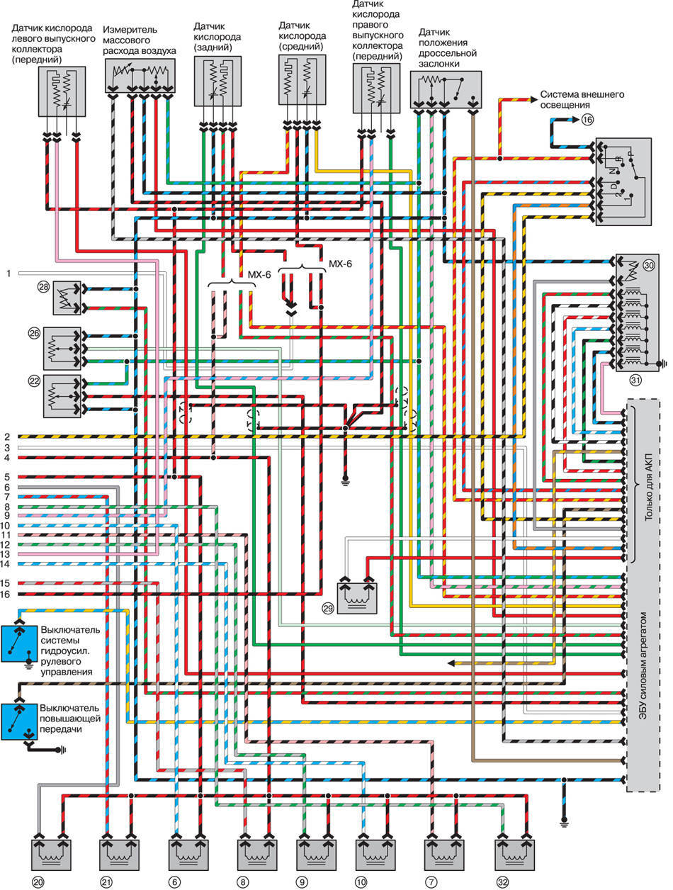 Схема электропроводки в mazda 626