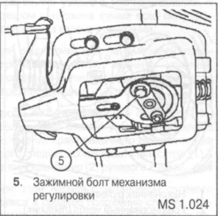 2.2.22 Регулировка тросов стояночного тормоза